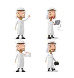 muslim business man character set vector image