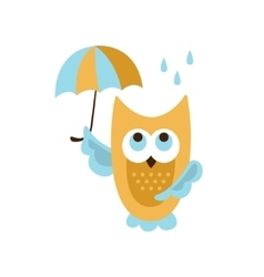 Owl With Umbrella Under Rain vector image vector image