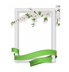 Photo frame blooming branch green ribbon vector
