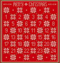 Red knitted advent calendar vector