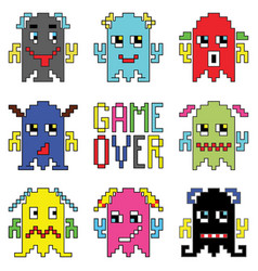 Retro game over game characters vector