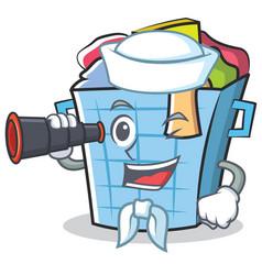 Sailor laundry basket character cartoon vector