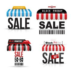 Sale with roof shop set vector image vector image