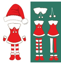 Santa girl costume pompom hat christmas outfit vector