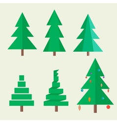 Set Christmas tree in style flat vector image vector image