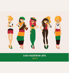 Set with isolated rasta girls rastafarian vector