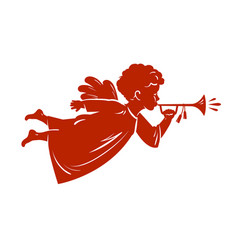 Silhouette christmas angel blowing a trumpet vector