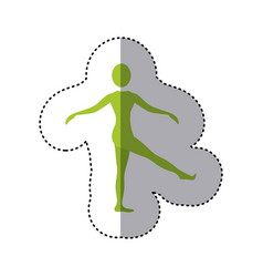 Sticker green silhouette woman standing stretching vector