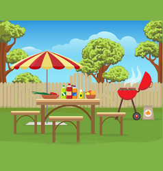 Summer backyard fun bbq vector