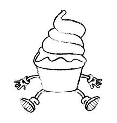 Sweet cartoon cold ice cream tasty frozen vector