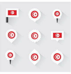 Tunisia flag and pins for infographic and map vector