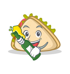 With beer sandwich character cartoon style vector