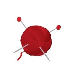 Yarn ball with needles cartoon icon vector image