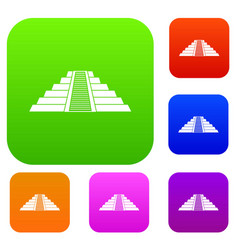 Ziggurat in chichen itza set color collection vector