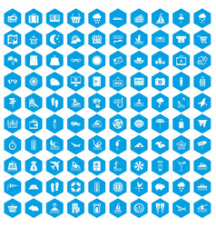 100 seaside resort icons set blue vector