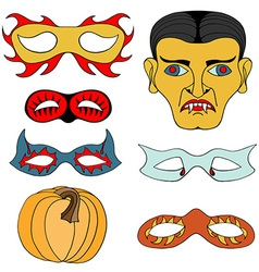Halloween mask set vector