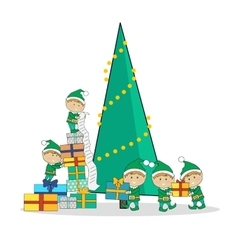 Christmas elves packing presents near tree vector