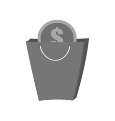 Bag gift buy with dollar coin gray color vector