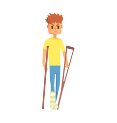Guy with broken leg on crouches adult person vector