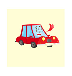 cute and funny red car auto character showing vector image