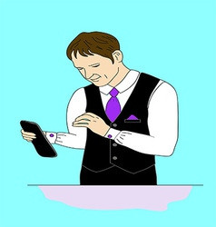 Business man with a tablet vector