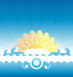 Sunny water splash banner stripe vector