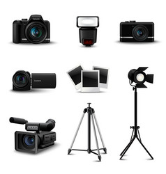 Realistic camera icons vector