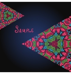 Ornamental flyer template with colorful triangles vector