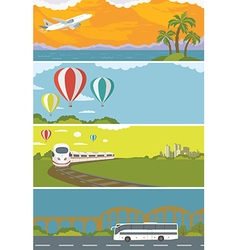 Set of colorful travel banners with flat design vector