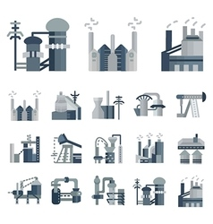 Plants and factories flat icons vector