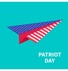 Big paper plane patriot day background flat design vector