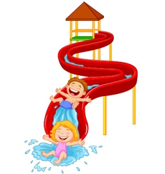 Happy children on water sliding vector