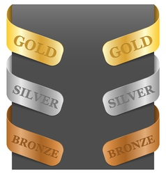 Left and right side signs - gold silver bronze vector