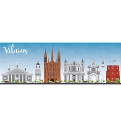 Vilnius skyline with gray landmarks and blue sky vector