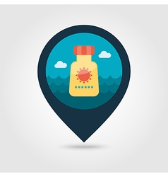 Sunscreen pin map icon summer vacation vector