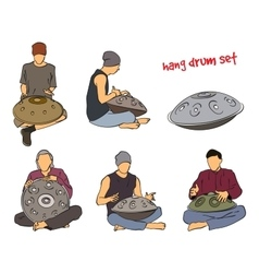Hang drum musician set vector