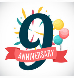 Anniversary 9 years template with ribbon vector