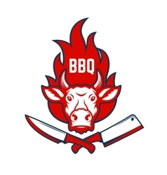 Bbq cow head on fire background knife and meat vector