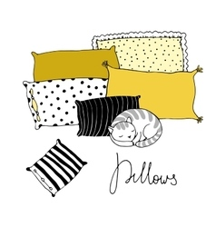Beautiful pillows and cute cat on a white vector image
