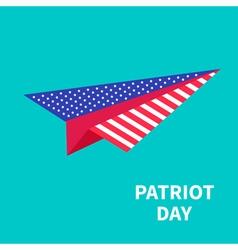 Big paper plane patriot day background flat design vector