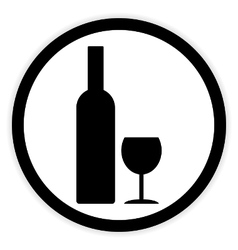 Bottle and glasse button vector image