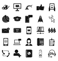 Call on business icons set simple style vector