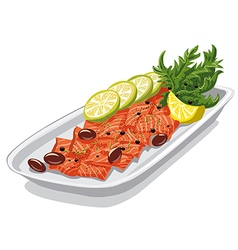 carpaccio with olives vector image vector image