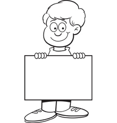 Cartoon Boy with a Sign vector image