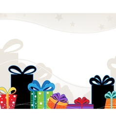 Christmas gift boxes with colored bows vector image vector image