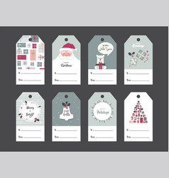 Christmas gift tag set in retro style vector
