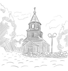 church is painted with ink and a pen vector image