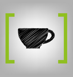 cup sign black scribble icon in citron vector image vector image