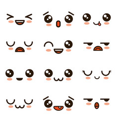 cute faces kawaii emoji cartoon vector image