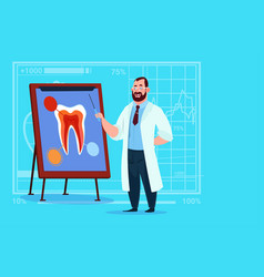 doctor dentist looking at tooth on board medical vector image vector image